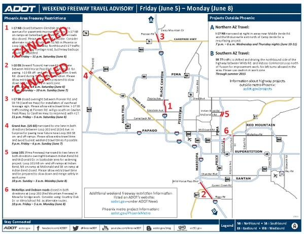 ADOT Weekend freeway travel restrictions Arizona s Family